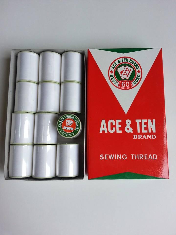ด้ายฝ้าย 100 % สีขาว ตรา ACE &TEN